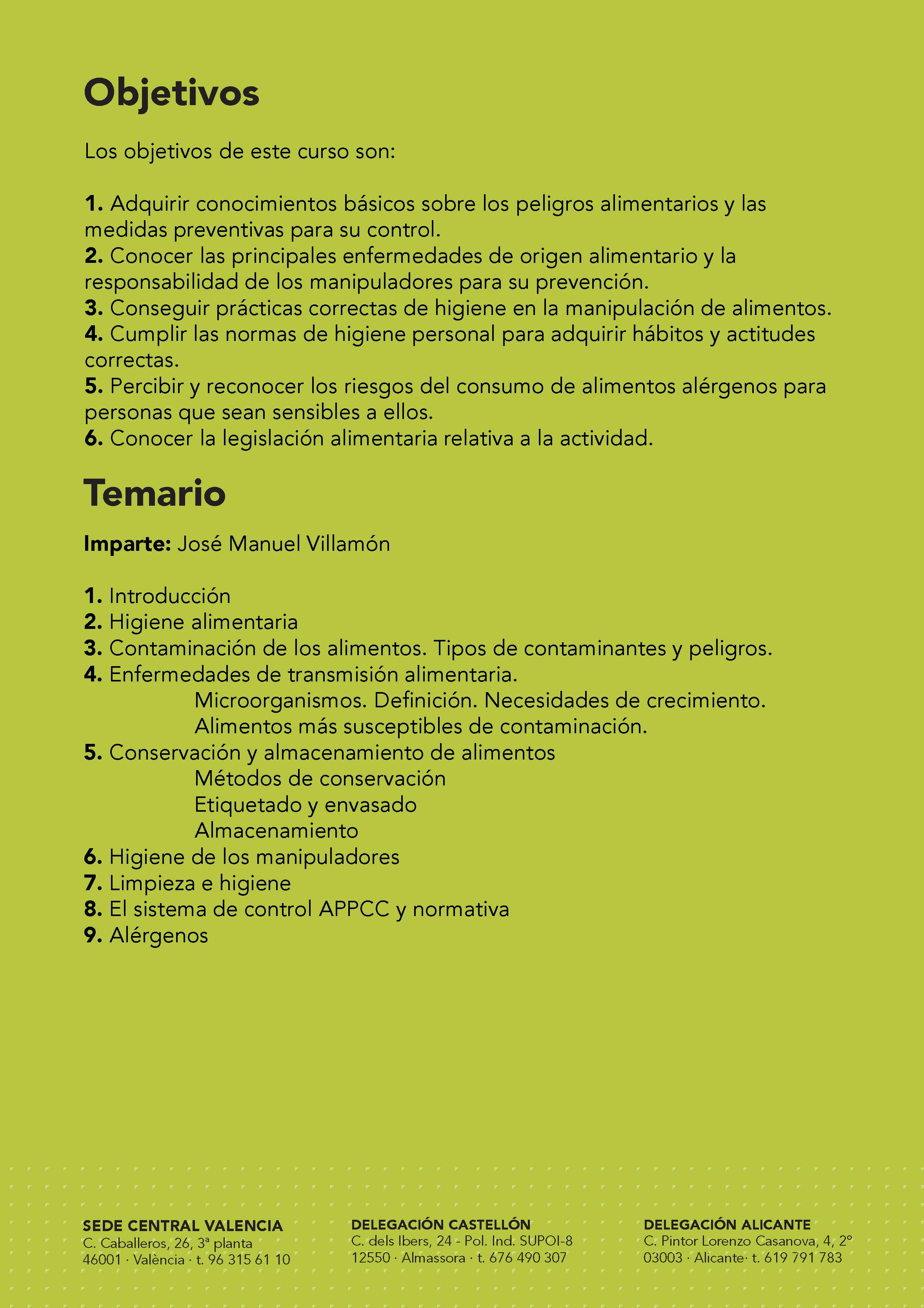 19/10. manipulador de alimentos y alérgenos. chelva. – cooperatives